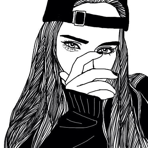 Line Art Picsart : Original tumblr outlines a random girl that i have