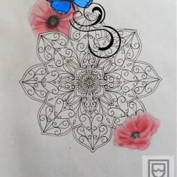 mandala flowers poppies butterfly art