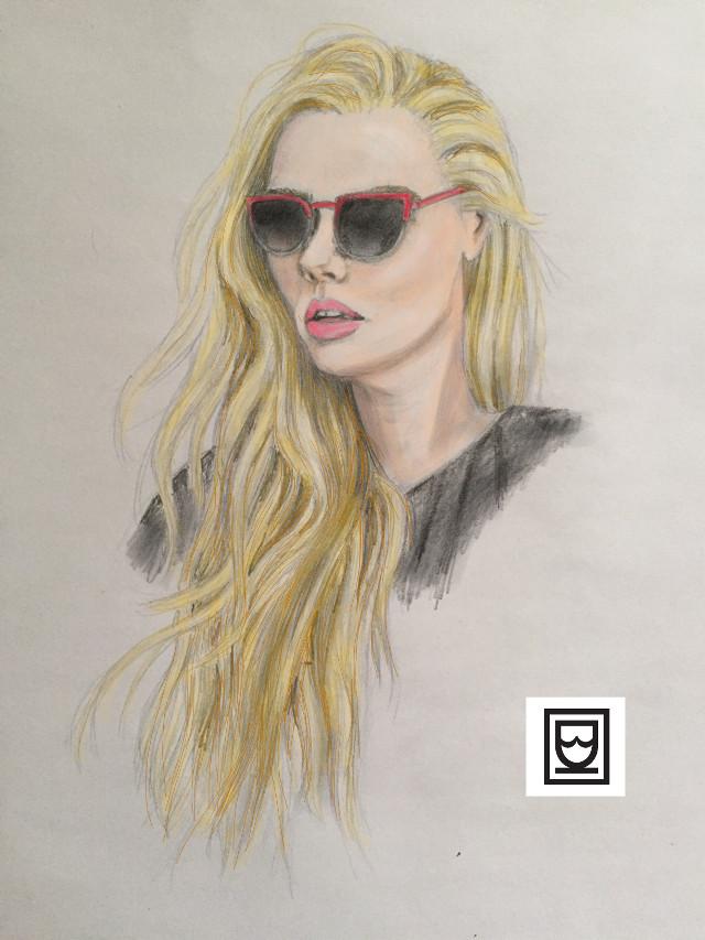 #blondehair #blondegirl #sunglasses #redlips #redsun #art #pencilart #portrait