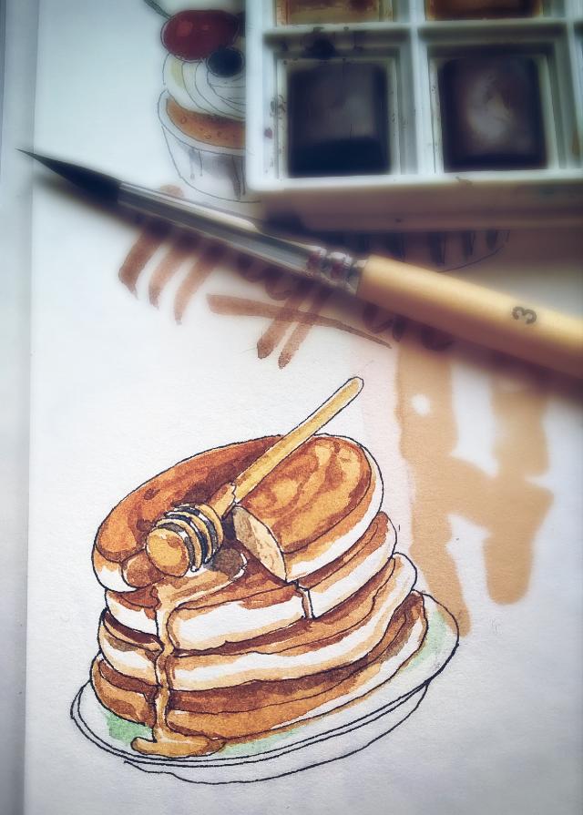 Mini pancakes. #sketch #sketchbook #art #drawing #ink #watercolors #aquarelle #pancakes #food