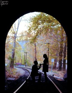love tunnel autumn railway couple