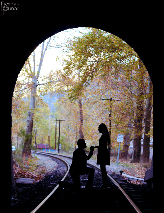 Love on the Entrance of Tunnel... #love #tunnel #autumn #railway #couple