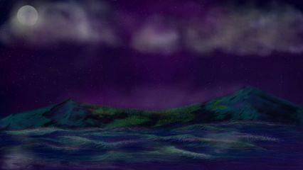 wapstarrysky drawing nature moon clouds