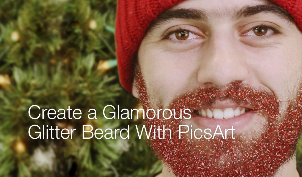 glittery beard photo effect