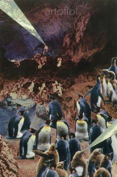 handmade paper penguins collage