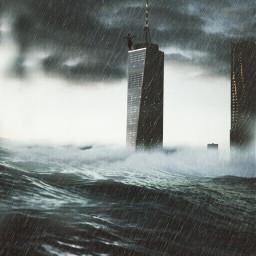 EndOfTheWorld dreamy urban City rain sea urban people travel nature buildings madewithpicsart mask edited
