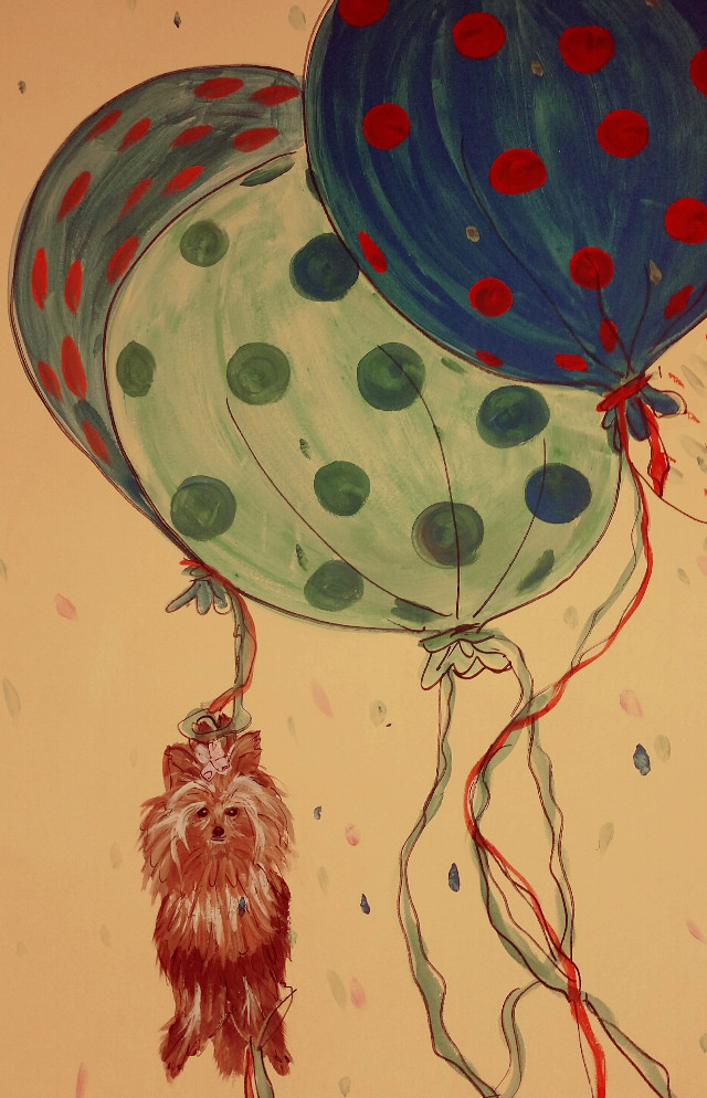 #dots #artistic #dog #ballons #shapes,  captured in a Dr's office...
