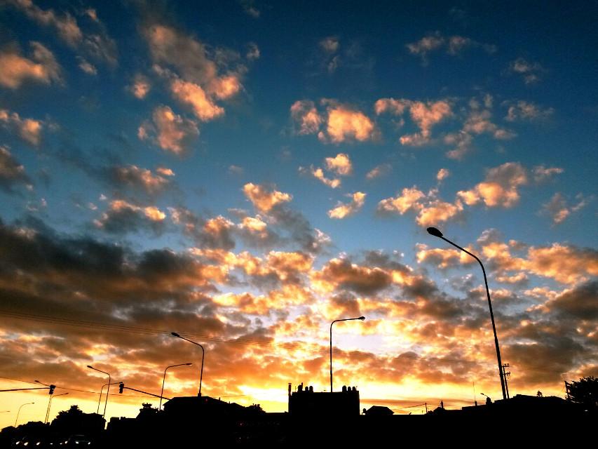 #sunset #cityskyline #buildings #sky #clouds #nature  #contrast