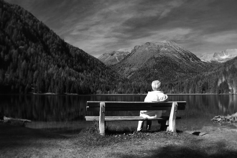 #blackandwhite #nature #people #emotions  #mountain #austria #mymother #photography #freetoedit  #landscape