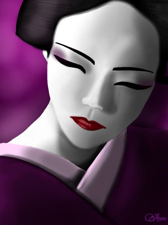 #wdpwomenportraits #geisha #mydrawing  #purple