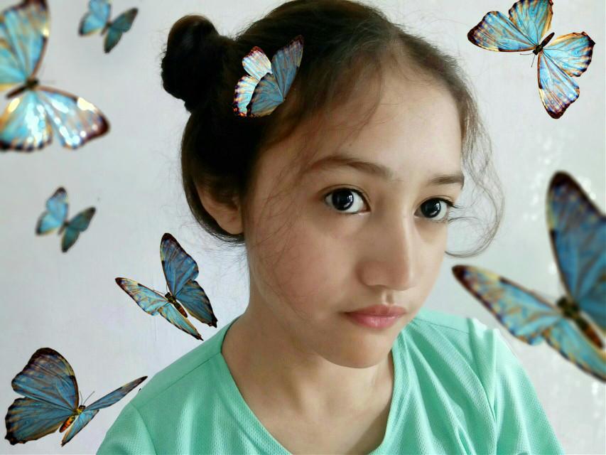 Butterflies are the heave kisses of an angel #love #photography #popart #butterflies #freetoedit #blue #girl #cute #kawaii