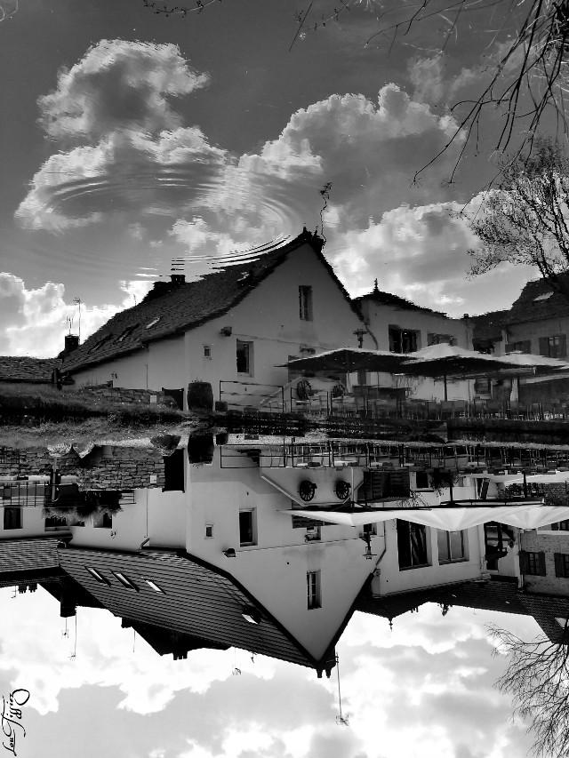 Upside down in Burgundy...  #upsidedown #blackandwhite #burgundy #mirror #reflection #clouds