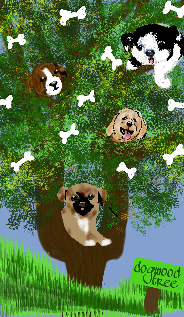 #tree #wdptrees #nature #colorful #drawing #leaves #dogwood #summer #dogs #bones #grass #fun #silly #fantasy #imagination   if you like it, please vote for it!  Thanks.  116th place