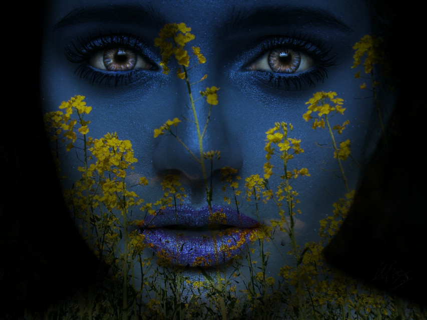 I couldn't resist - another version of this beautiful portrait! Thanks to  @mrscat0   #wapfloralwrap #portrait  #beauty #girl #woman #face #edited  #blue